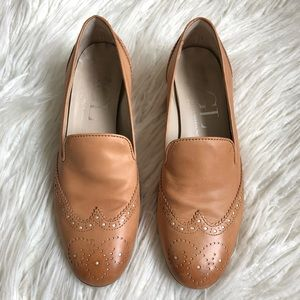 AGL Leather Brogue Slip On Round Toe Flats